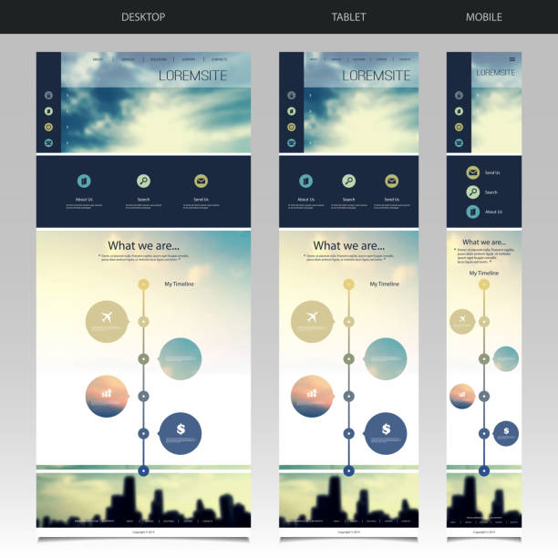 Responsive One Page Website Template with Blurred Background Desktop and Mobile Version - Modern Colorful Abstract One Page Web Site Creative Design, User Interface Layout, Presentation Template Illustration for Your Business or Blog - Freely Scalable and Editable Vector Format Included website design stock illustrations