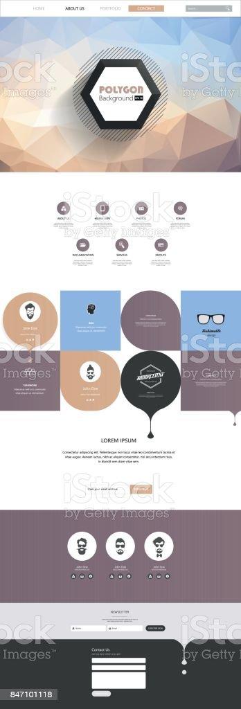 Responsive One Page Website Template with Polygon Background - illustrazione arte vettoriale