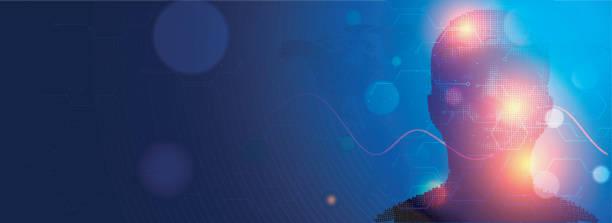 ilustraciones, imágenes clip art, dibujos animados e iconos de stock de diseño de banner web sensible, concepto biométrica, cara digital, análisis a fondo de la red digital. - inteligencia artificial