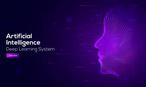 responsive web banner design with illustration of human face made by tiny particles between glowing digital network for artificial intelligence (ai) deep learning concept. - sztuczna inteligencja stock illustrations