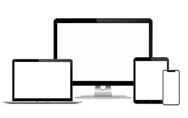 illustrazioni stock, clip art, cartoni animati e icone di tendenza di display del computer di progettazione web reattivo con laptop e tablet pc con telefono cellulare - attrezzatura