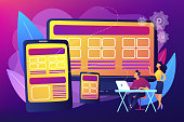 Adaptive mobile app interface, web optimization. Responsive web design, responsive website development, good UX for all screens concept. Bright vibrant violet vector isolated illustration