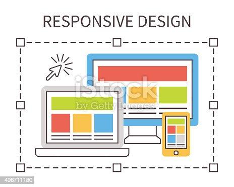 istock Responsive web design, flat vector 496711180
