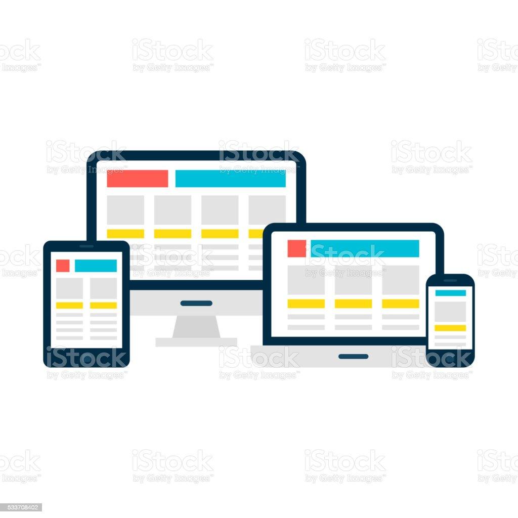 Progettazione Web reattiva gadget sopra bianco - illustrazione arte vettoriale