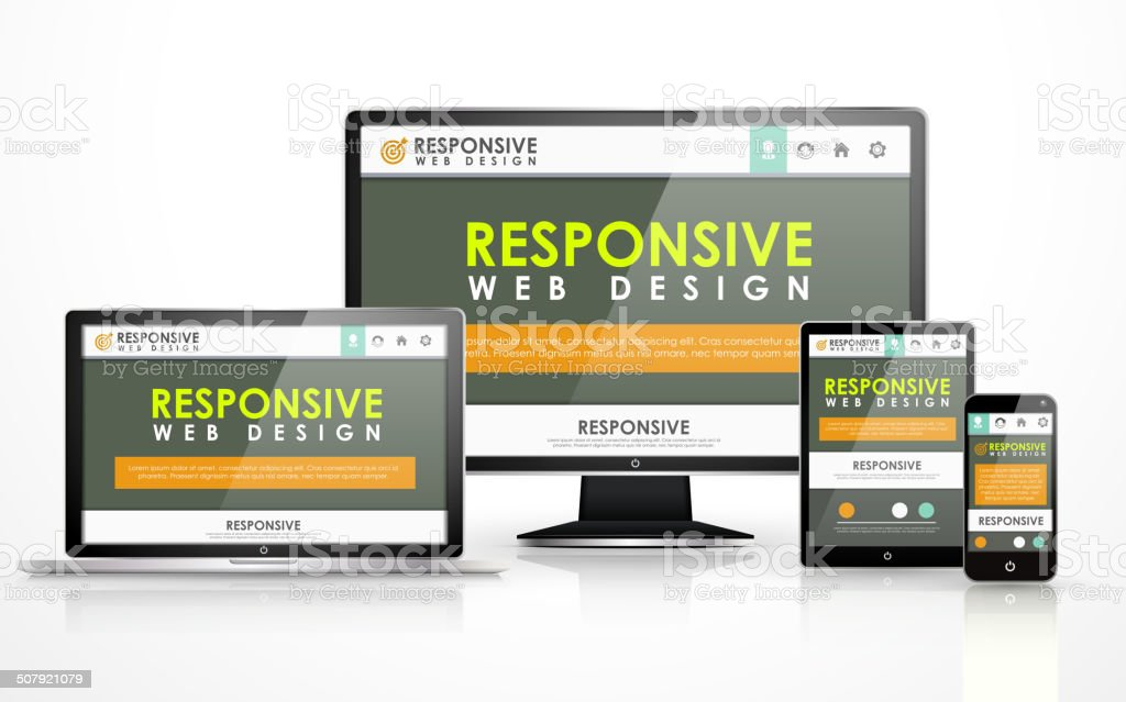 responsive web design in different devices vector art illustration