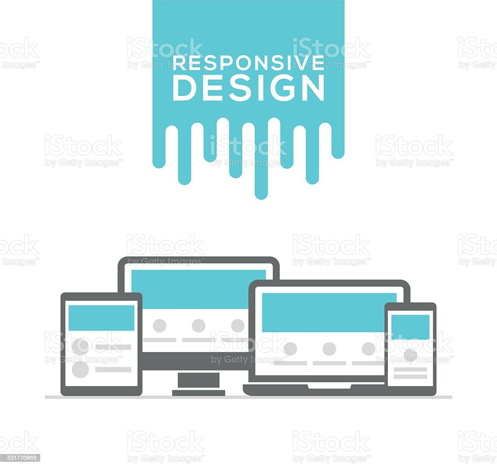 Responsive web design in electronic devices vector art illustration