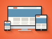 Responsive web design in flat style. Vector illustration in EPS10.