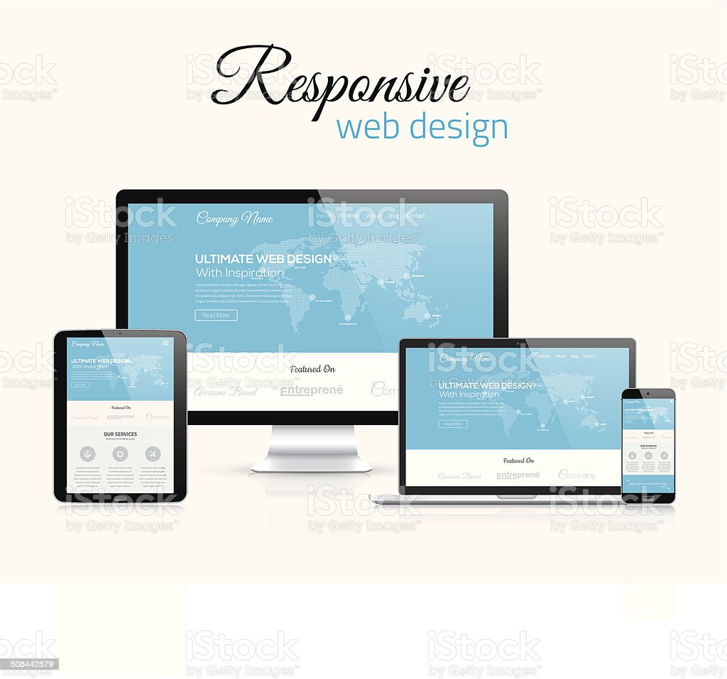 Responsive web design in modern flat vector style concept image vector art illustration