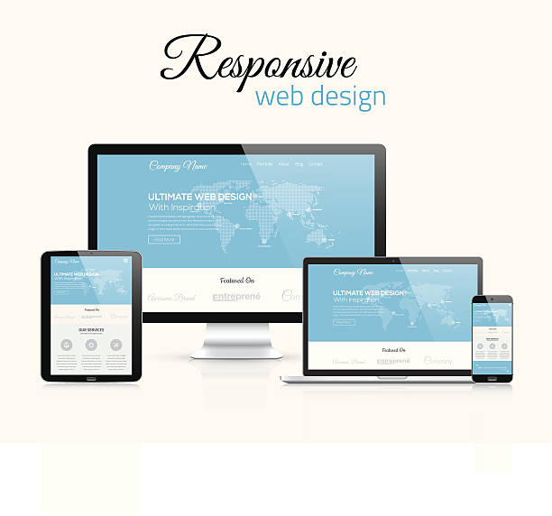 responsive web design in modern flat vector style concept image - collaboration stock illustrations