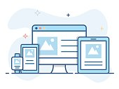 Responsive web design line illustration