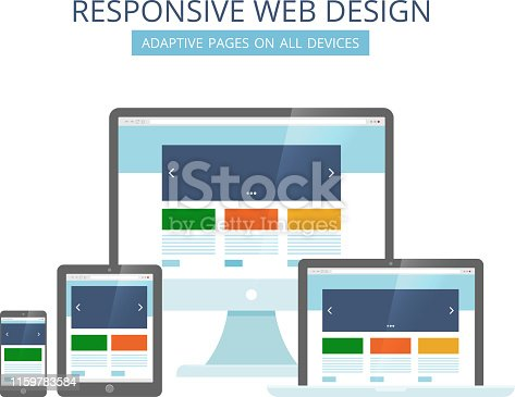 Responsive web design. Minimalist pages layout template adaptive for all devices computer tablet laptop and smartphone vector pictures. Illustration of laptop and mobile device, adaptive page