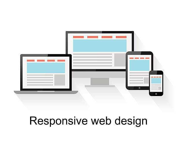 Responsive web design on computer Responsive web design on computer, tablet PC, notebook and smart phone on white background collaboration stock illustrations