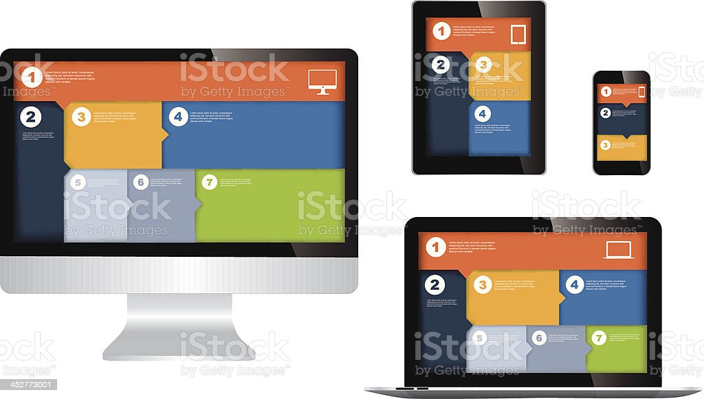 responsive web design on different devices - Royalty-free Adjustable stock vector