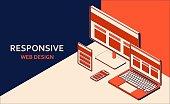 Responsive web design. Tablet, laptop, computer, mobile desktop, web application development and page construction for different devices. Isometric vector illustration.
