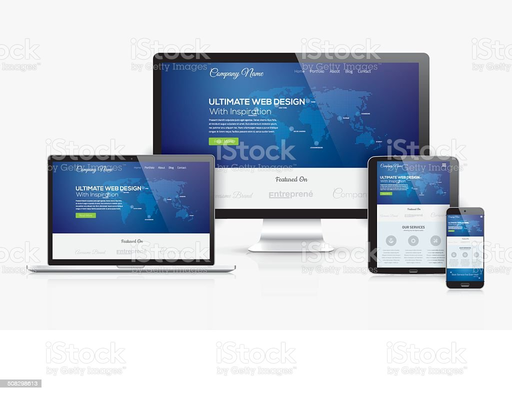 Responsive web design template realistic vector devices concept vector art illustration
