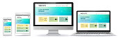 istock Responsive Web Site Design With Computer Monitor, Laptop, Tablet PC and Mobile Phone Screen 955943660