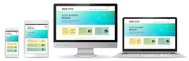 responsive web site design with computer monitor, laptop, tablet pc and mobile phone screen - computer stock illustrations
