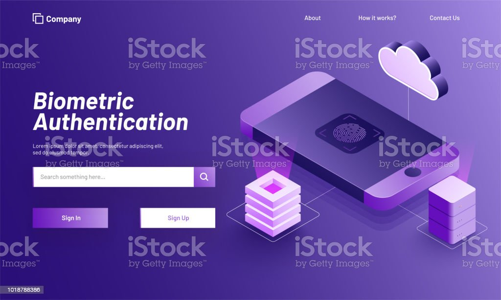 Responsive web template or banner design with isometric illustration of smartphone with fingerprint scanner for Biometric Authentication concept. vector art illustration