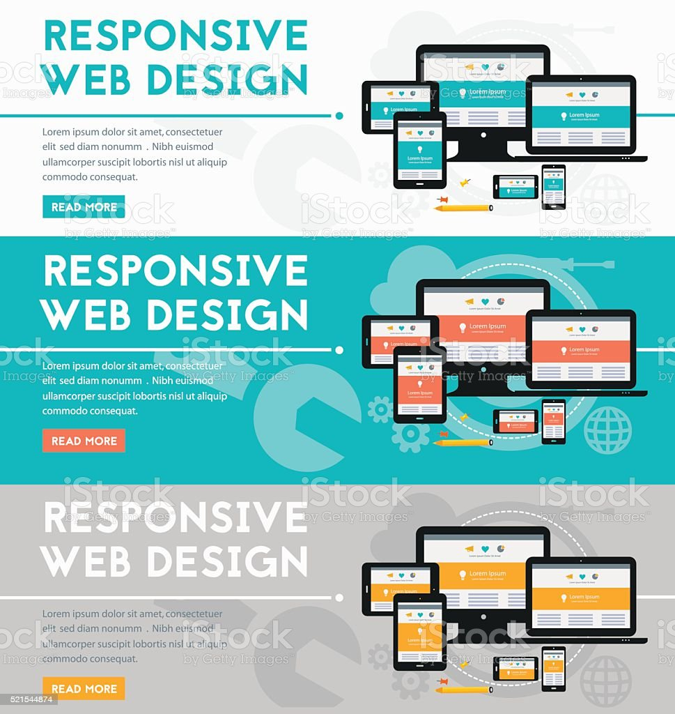 Responsive webdesign concept banner vector art illustration