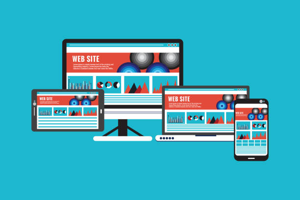 Responsive Website Design With Computer Monitor, Laptop, Tablet PC and Mobile Phone Screen Web Page,Responsive ,web design, Digital Tablet, Computer, Laptop, Cooperation web design stock illustrations