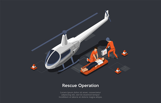 Resque Equipment And Helicopter Flight Resque System Concept. The Rescuers Came With Helicopter Use A Special Equipment To Evacuate And To Save The Woman. Colorful 3d Isometric Vector Illustration