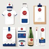 Vector restaurant cafe set flyer, menu, package, t-shirt, cap, uniform design/ layout set of japan food corporate identity template.