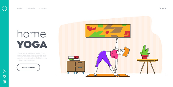 Rest and Meditation Landing Page Template. Girl Stand in Yoga Asana or Stretching Fitness Posture at Home. Relaxed Woman Character Enjoying Training Body for Loss Weight. Linear Vector Illustration