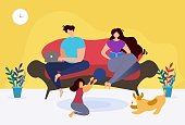 Rest and Relax at Home Thematic Family Cartoon. Mother Reading Book, Father Working on Laptop, Daughter Playing Ball with Puppy. Recreation at Home. Indoor Activities. Flat Vector Illustration