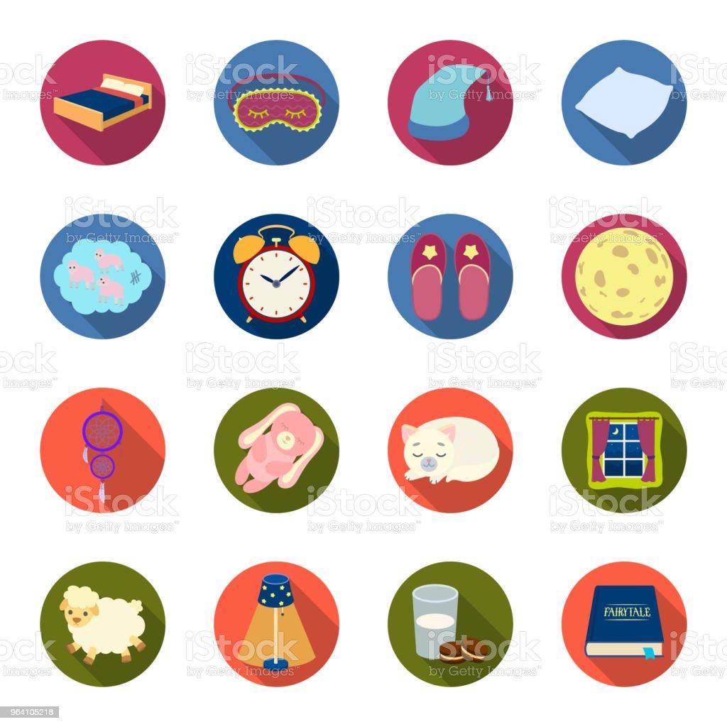 Repos et le sommeil des icônes plats dans la collection de jeu pour la conception. Accessoires et confort vector illustration web stock symbole. - Illustration vectorielle