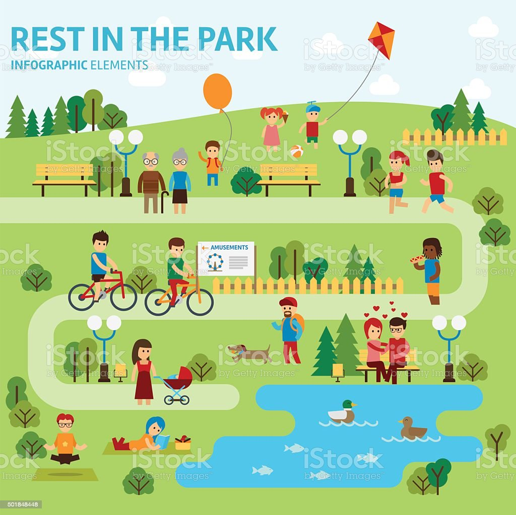 Rest in the park infographic elements vector art illustration