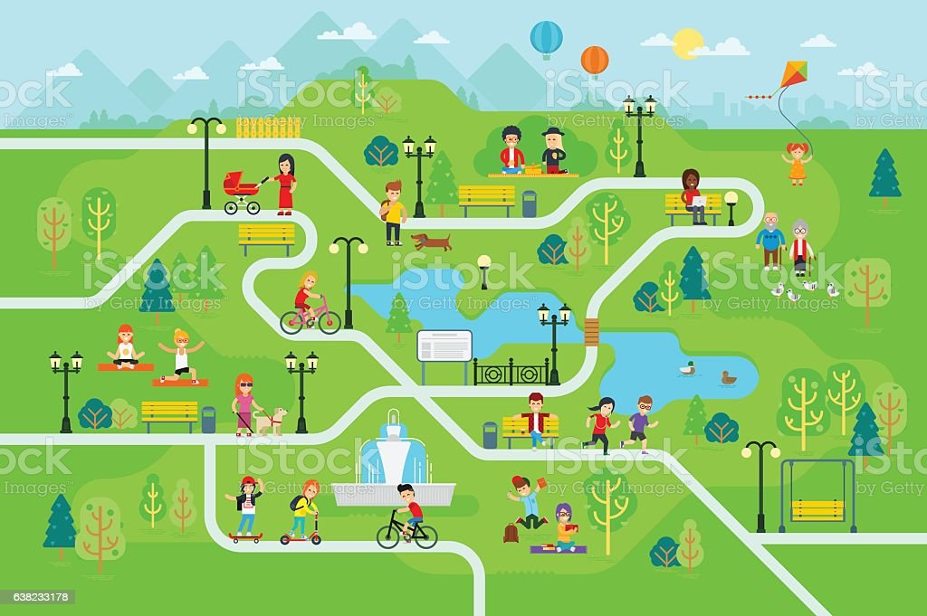 Rest in the park map infographic elements vector art illustration