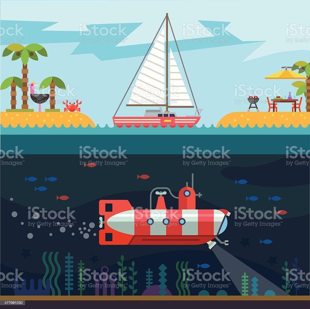 Rest on the sea vector art illustration