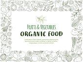 Restangle Frame border pattern of groceries organic farm fresh fruits and vegetables. Vector illustration frame. Outline line flat style design. White backdrop.
