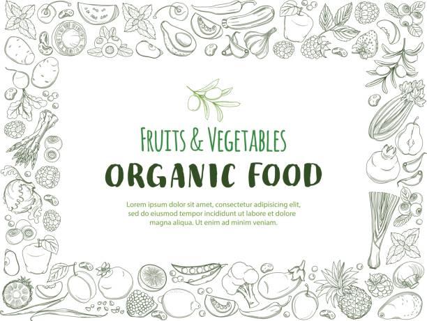 Restangle Frame padrão de fronteira fazenda orgânica frutas fresca e legumes - ilustração de arte em vetor