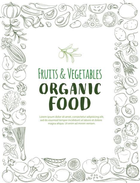 Restangle Frame border pattern organic farm fresh fruits and vegetables vector art illustration