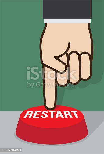 istock Restart Push Button Business Economy Recovery Reboot Concept 1220790921
