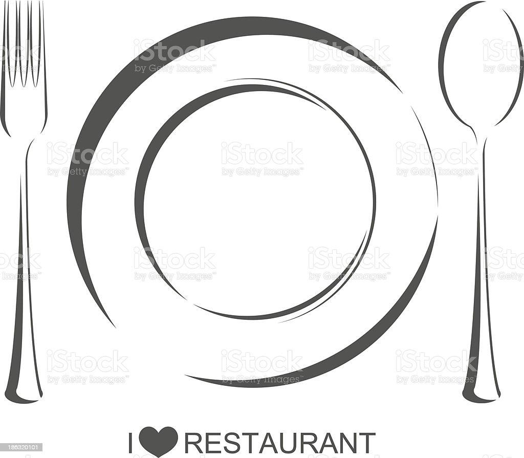 Restaurant 1, plate fork spoon vector art illustration