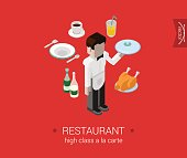 Restaurant a-la-carte waiter service flat 3d isometric pixel art modern design concept vector. Male waiter brings order food chicken champagne. Web banner illustration website click infographics.