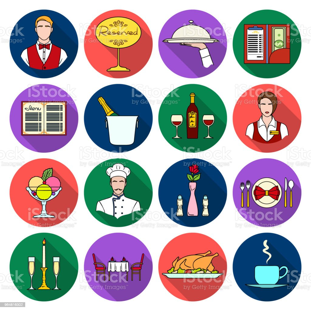 Restaurant and bar flat icons in set collection for design. Pleasure, food and alcohol vector symbol stock web illustration. royalty-free restaurant and bar flat icons in set collection for design pleasure food and alcohol vector symbol stock web illustration stock vector art & more images of alcohol