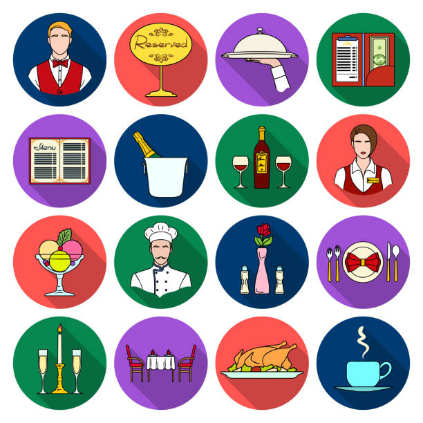 restaurant and bar flat icons in set collection for design. pleasure, food and alcohol vector symbol stock web illustration. - ice cream stock illustrations