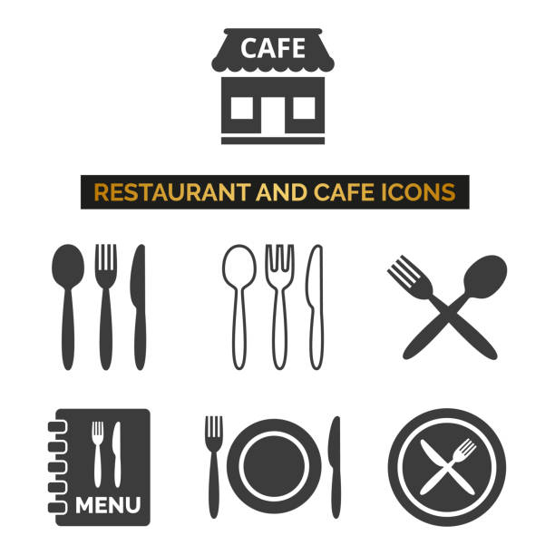 illustrazioni stock, clip art, cartoni animati e icone di tendenza di restaurant and cafe icons set on white background. - coltello posate