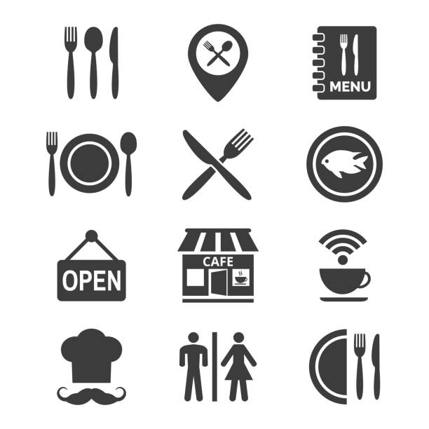 restaurant and cafe icons set on white background. - cafe stock illustrations