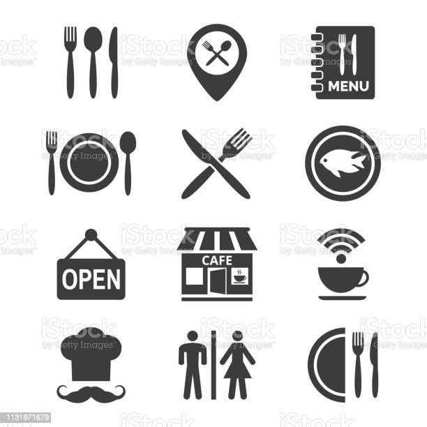 Restaurant And Cafe Icons Set On White Background - Arte vetorial de stock e mais imagens de Aberto
