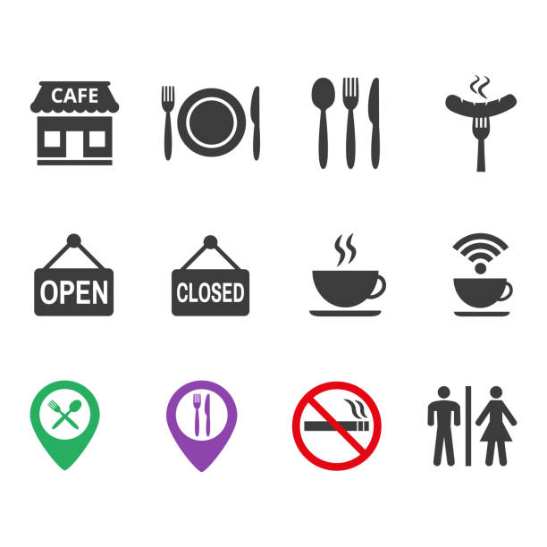 restaurant and cafe icons set on white background. - ресторан stock illustrations