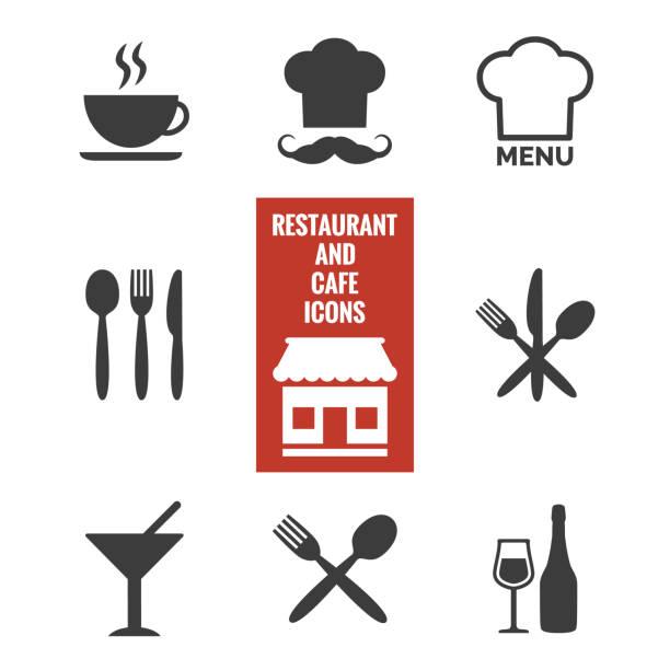 restaurant und café-ikonen auf weißem hintergrund. - pizzeria stock-grafiken, -clipart, -cartoons und -symbole