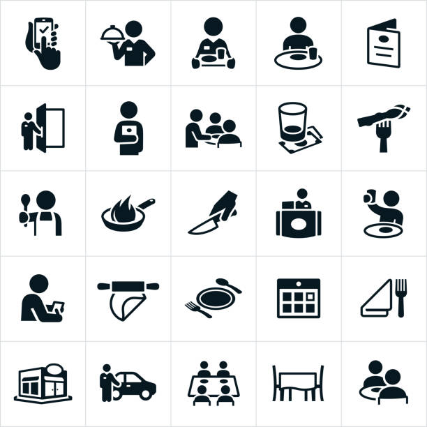 Restaurant and Dining Icons An icon set of restaurant dining icons. The icons include wait staff, servers, chef, customers, dining, eating, menu, tip, customer service, food, restaurant, dining table and valet parking to name a few. cooking black and white stock illustrations