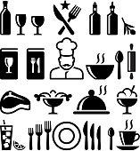 Restaurant and fine dining black & white set