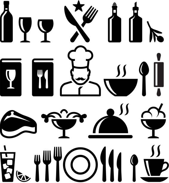 Restaurant and fine dining black & white vector icon set Restaurant and fine dining black & white set cooking black and white stock illustrations