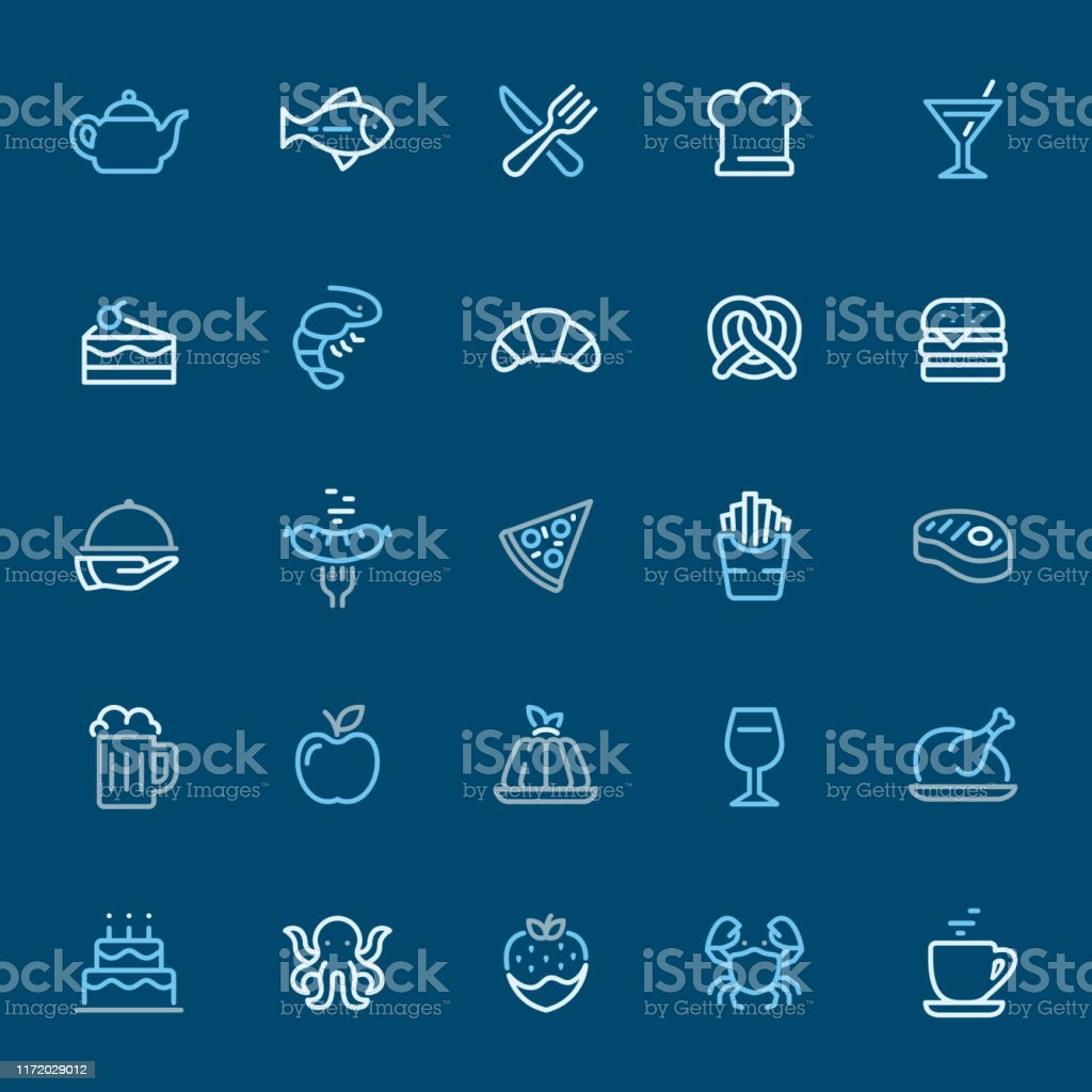 Restaurant And Food Color Outline Icons Stock Illustration Download Image Now Istock