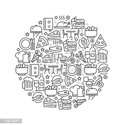 Restaurant and Food Concept - Black and White Line Icons, Arranged in Circle